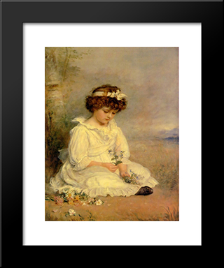 Little Speedwell'S Darling Blue: Modern Black Framed Art Print by John Everett Millais