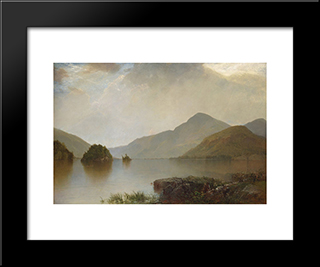 Lake George: Modern Black Framed Art Print by John Frederick Kensett