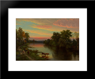 Sunset With Cows: Modern Black Framed Art Print by John Frederick Kensett