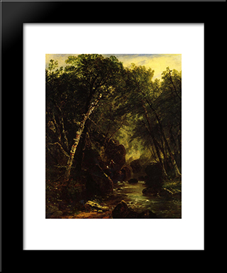 Trout Fisherman: Modern Black Framed Art Print by John Frederick Kensett
