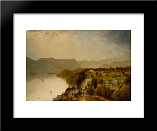 View From Cozzen'S Hotel Near West Point, N.Y.: Modern Black Framed Art Print by John Frederick Kensett