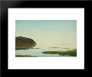 View Of The Shrewsbury River, New Jersey: Modern Black Framed Art Print by John Frederick Kensett