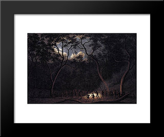 A Corroboree In Van Diemen'S Land: Modern Black Framed Art Print by John Glover