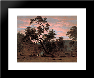 A Corroboree Of Natives In Mills Plains: Modern Black Framed Art Print by John Glover