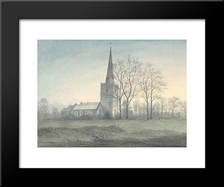 Appleby Magna Church: Modern Black Framed Art Print by John Glover
