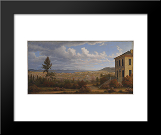 Hobart Town, Taken From The Garden Where I Lived: Modern Black Framed Art Print by John Glover