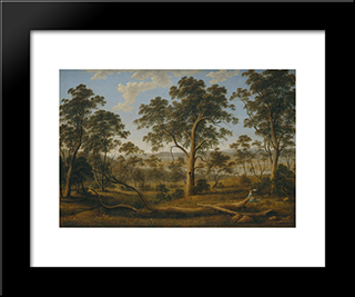 Launceston And The River Tamar: Modern Black Framed Art Print by John Glover