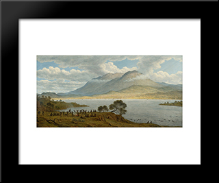 Mount Wellington And Hobart Town From Kangaroo Point: Modern Black Framed Art Print by John Glover