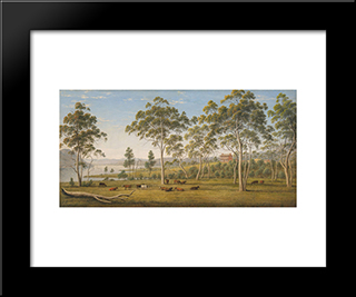 Mr Robinson'S House On The Derwent, Van Diemen'S Land: Modern Black Framed Art Print by John Glover