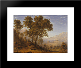 My Last View Of Italy, Looking From The Alps Over Suza: Modern Black Framed Art Print by John Glover