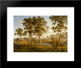 Natives On The Ouse River, Van Diemen'S Land: Modern Black Framed Art Print by John Glover