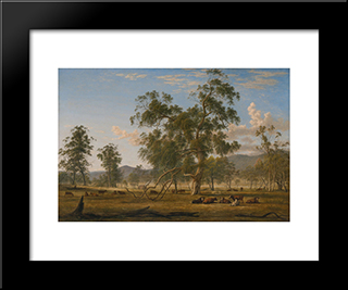 Patterdale Landscape With Cattle: Modern Black Framed Art Print by John Glover