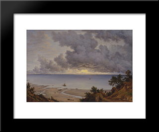Sandown Bay, From Near Shanklin Chine, Isle Of Wight: Modern Black Framed Art Print by John Glover