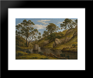 The Bath Of Diana, Van Diemen'S Land: Modern Black Framed Art Print by John Glover