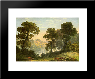 View In North Wales: Modern Black Framed Art Print by John Glover