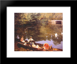 Sutton Courtenay, (Summer On The River Or The Wharf): Modern Black Framed Art Print by John Lavery