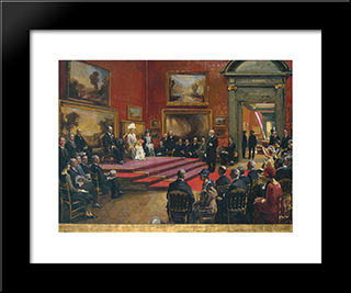 The Opening Of The Modern Foreign And Sargent Galleries At The Tate Gallery, 26 June 1926: Modern Black Framed Art Print by John Lavery
