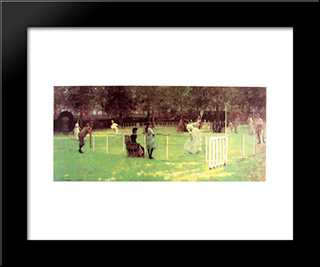 The Tennis Party: Modern Black Framed Art Print by John Lavery