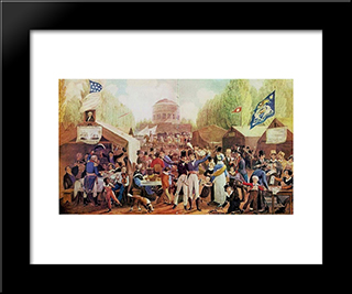 4Th Of July 1819 In Philadelphia: Modern Black Framed Art Print by John Lewis Krimmel