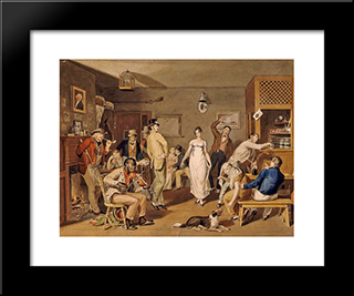 Barroom Dancing: Modern Black Framed Art Print by John Lewis Krimmel