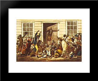 Black People'S Prayer Meeting: Modern Black Framed Art Print by John Lewis Krimmel