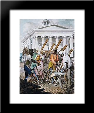 Black Sawyers Working In Front Ot The Bank Of Pennsylvania, Philadelphia: Modern Black Framed Art Print by John Lewis Krimmel