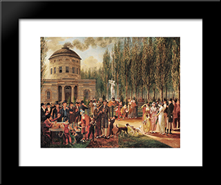 Fourth Of July In Centre Square Philadelphia: Modern Black Framed Art Print by John Lewis Krimmel