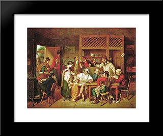 In An American Inn: Modern Black Framed Art Print by John Lewis Krimmel