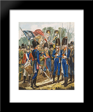 Members Of The City Troup And Other Philadelphia Soldiery: Modern Black Framed Art Print by John Lewis Krimmel