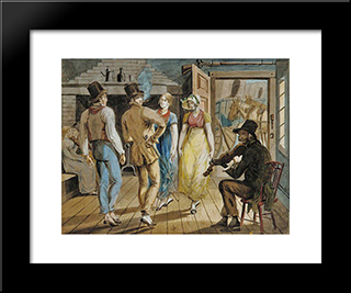 Merrymaking At A Wayside Inn: Modern Black Framed Art Print by John Lewis Krimmel