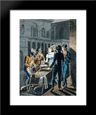 Nightlife In Philadelphia - An Oyster Barrow In Front Of The Chestnut Street Theater: Modern Black Framed Art Print by John Lewis Krimmel