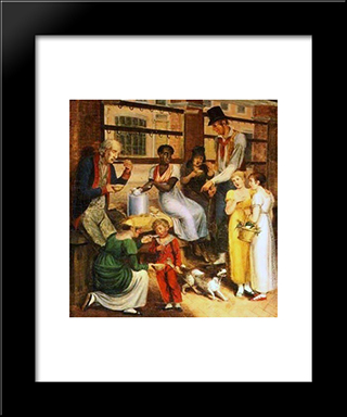 Pepper-Pot Woman At The Philadelphia Market: Modern Black Framed Art Print by John Lewis Krimmel