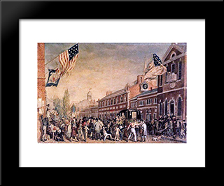 Philadelphia Election Day: Modern Black Framed Art Print by John Lewis Krimmel