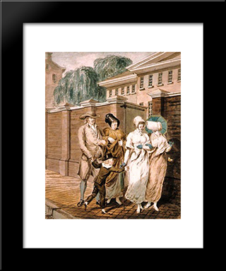 Sunday Morning In Front Of The Arch Street Meeting House In Philadelphia: Modern Black Framed Art Print by John Lewis Krimmel