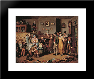 The Quilting Frolic: Modern Black Framed Art Print by John Lewis Krimmel