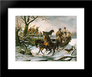 The Sleighing Frolic: Modern Black Framed Art Print by John Lewis Krimmel