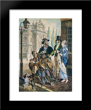 Wordly Folk Questioning Chimney Sweeps And Their Master Before Christ Church In Philadelphia: Modern Black Framed Art Print by John Lewis Krimmel