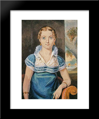 Young Girl With A Blue Dress: Modern Black Framed Art Print by John Lewis Krimmel
