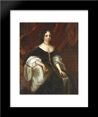 Catherine Of Braganza, Queen Consort Of Charles Ii: Modern Black Framed Art Print by John Riley