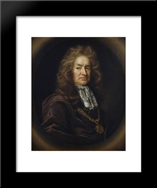 Elias Ashmole: Modern Black Framed Art Print by John Riley
