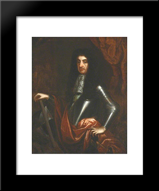 King Charles Ii: Modern Black Framed Art Print by John Riley