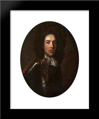 Portrait Of A Man In Armour: Modern Black Framed Art Print by John Riley