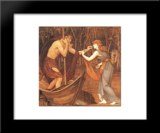 Charon And Psyche: Modern Black Framed Art Print by John Roddam Spencer Stanhope