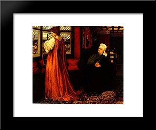 Juliet And Her Nurse: Modern Black Framed Art Print by John Roddam Spencer Stanhope