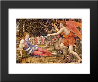 Love And The Maiden: Modern Black Framed Art Print by John Roddam Spencer Stanhope