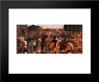 The Waters Of Lethe By The Plains Of Elysium: Modern Black Framed Art Print by John Roddam Spencer Stanhope