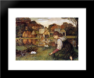 The White Rabbit: Modern Black Framed Art Print by John Roddam Spencer Stanhope