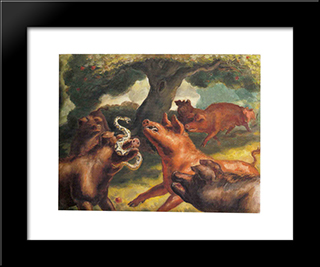 Hogs Killing A Snake: Custom Black Or Gold Ornate Gallery Style Framed Art Print by John Steuart Curry