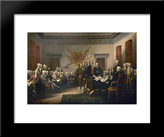 Declaration Of Independence: Modern Black Framed Art Print by John Trumbull