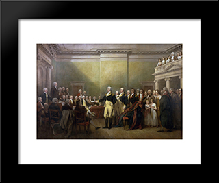 General George Washington Resigning His Commission: Modern Black Framed Art Print by John Trumbull
